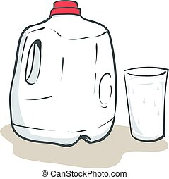 Milk Gallon - An Illustration of a Gallon of milk and a...