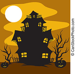 Haunted House - An Illustration of a Haunted House in the...