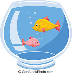Fishbowl - An Illustration of a fishbowl with two fish and...