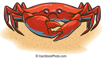 Crab - An Illustration of a crab walking along the beach