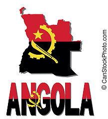 Angola map flag and text illustration
