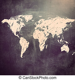 chalk board - world map on chalk board Earth silhouette is...