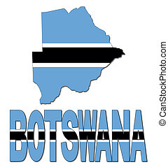 Botswana map flag and text