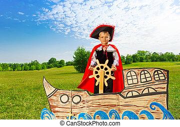 niño, pirata, estantes, barco, asideros, Timón