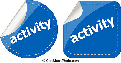 activity stickers set, icon button isolated on white