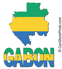 Gabon map flag and text illustration