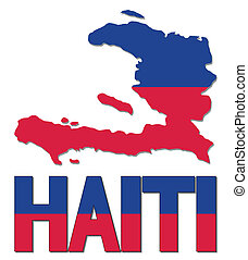 Haiti map flag and text