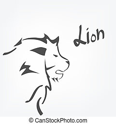 Lion head - Stylized Lion head isolated on white background
