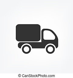 Delivery truck with free delivery text, flat style