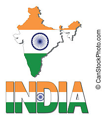 India map flag and text