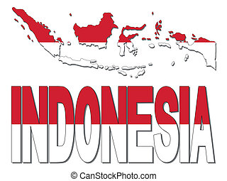 Indonesia map flag and text