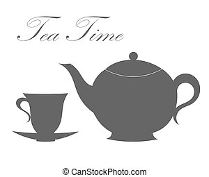 Teapot and tea cup. Vector illustration
