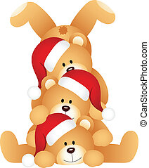 Stack of Christmas teddy Bears - Scalable vectorial image...