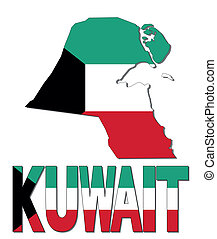 Kuwait map flag and text