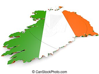map illustration of Ireland with flag