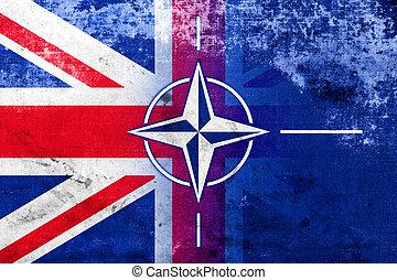 Grunge Nato and UK Flag