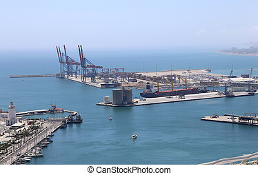 Malaga in Andalusia, Spain. Aerial view of port and the city