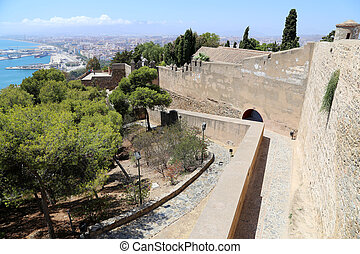 Gibralfaro Castle in Malaga, Andalusia, Spain The place is...
