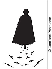 Jack the Ripper with Crows - A silhouette of Jack the ripper...