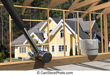 Construction lifestyle closeup, with luxury home in the...