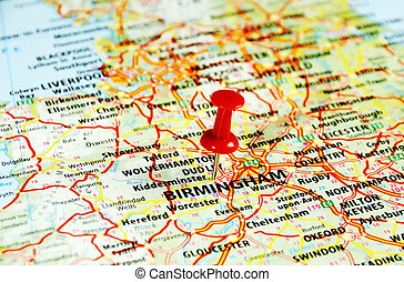 Birmingham ,UK map - Close up of Birmingham ,United Kingdom...
