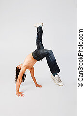 Cool breakdancer making out on plain background - Cool...