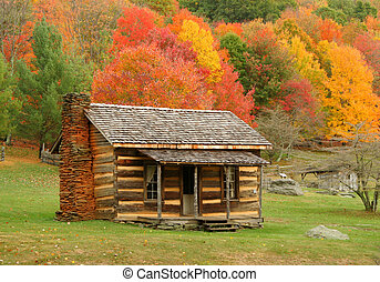 Cabin in Autumn - Old cabin in Virginia during fall of the...