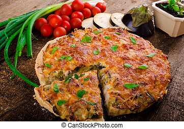 French Quiche vegetarian - French Quiche with eggplant,...