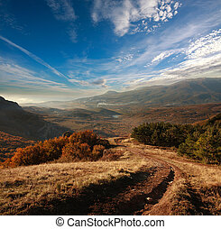 Mountain road through the autumn forest leaving over the horizon