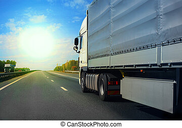 truck goes on the highway - big truck goes on the highway to...