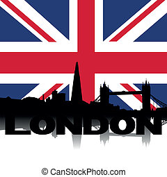 London skyline text flag - London skyline and text with...