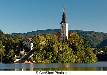 Lake Bled - The island with the Assumption of Mary Church...