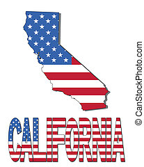 California map flag and text