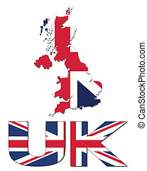 UK map flag and text illustration