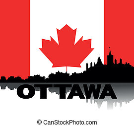 Ottawa skyline text flag - Ottawa skyline and text with...