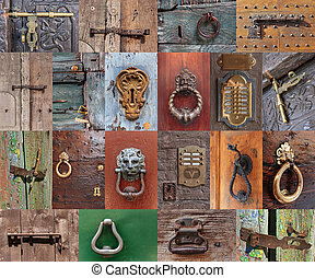 Old vintage door handles and deadbolt, set