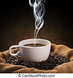 Coffee Cup and Coffee Beans - Hot Coffee Cup and Coffee...
