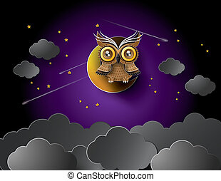 vector of owl and moon.paper cut style.