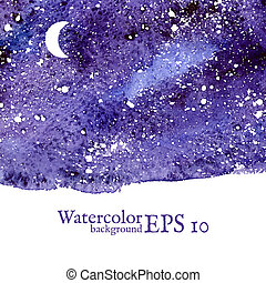 Blue space background. Watercolor Vector illustration. -...