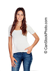 Attractive young girl with jeans isolated on a white...
