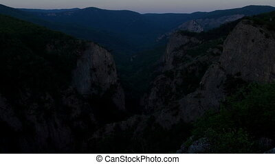 Timelapse sunrise in the mountains Grand Canyon of Crimea,...