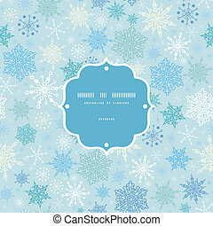 Vector falling snow frame seamless pattern background...