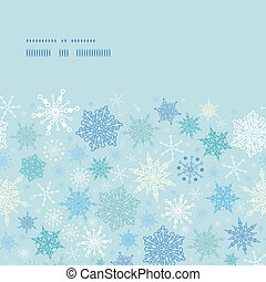 Vector falling snow horizontal frame seamless pattern...