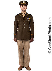 Military officer in attention position - Full length image...
