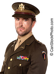 Young proud military officer - Serious USA army man isolated...