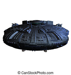 alien imperial cruiser - an alien mothership 3D render with...