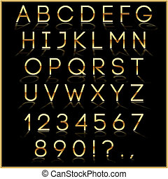 Vector golden alphabet letters with reflection on black...