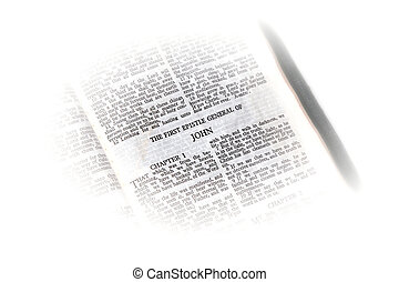 bible open to john vignette - holy bible open to the first...