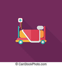 hospital bed flat icon with long shadow
