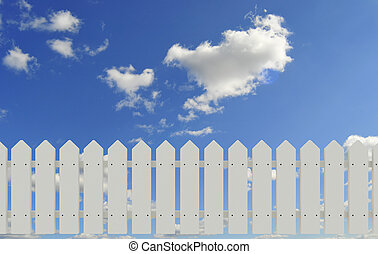 fence and sky - white fence and blue sky